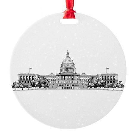 U.S. Capitol Building Art Round Ornament