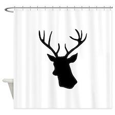 Black stag deer head Shower Curtain