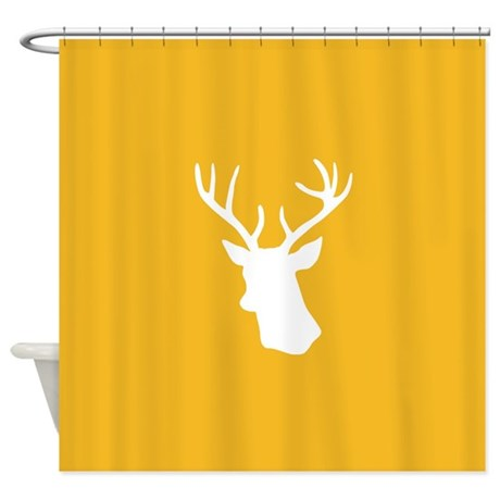Yellow and White stag deer head Shower Curtain