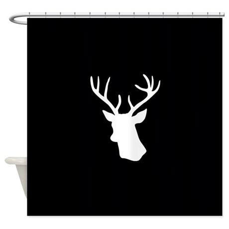 Black And White Stag Deer Head Shower Curtain By