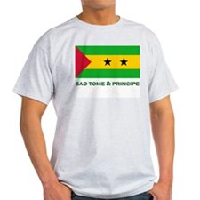 Sao Tome & Principe Flag Merchandise Ash Grey T-Sh