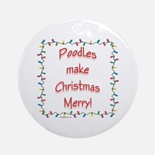 Merry Poodle Ornament (Round)