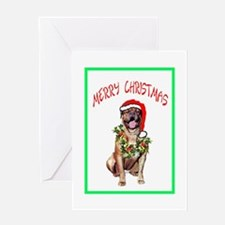 DOGUE DE BORDEAUX SANTA Greeting Card