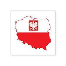"Poland Map In Polish Colors Square Sticker 3"" x 3"""