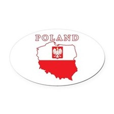 Poland Map With Eagle Oval Car Magnet
