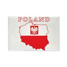 Poland Map With Eagle Rectangle Magnet