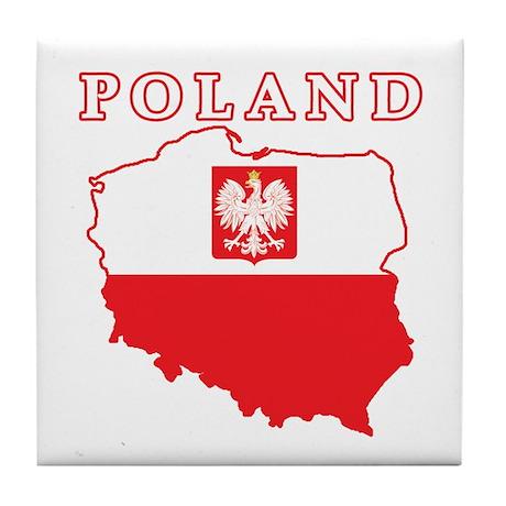 Poland Map With Eagle Tile Coaster