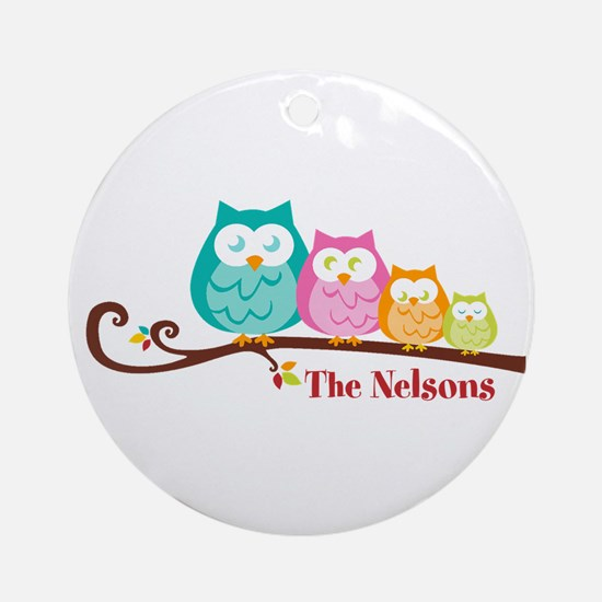 Custom owl family Ornament (Round)