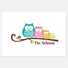 Custom owl family 3.5 x 5 Flat Cards