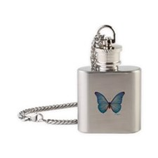 gorgeous blue morpho butterfly Flask Necklace