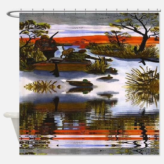 Hunters Await Reflection Shower Curtain