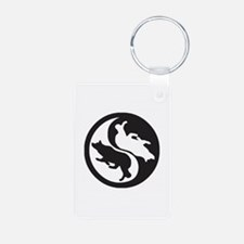 Border Collie Ying Yang Keychains