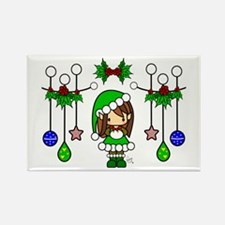 Cute Christmas Elf Girl Dressed in Green Rectangle