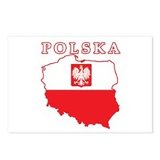 Polska Map With Eagle Postcards (Package of 8)