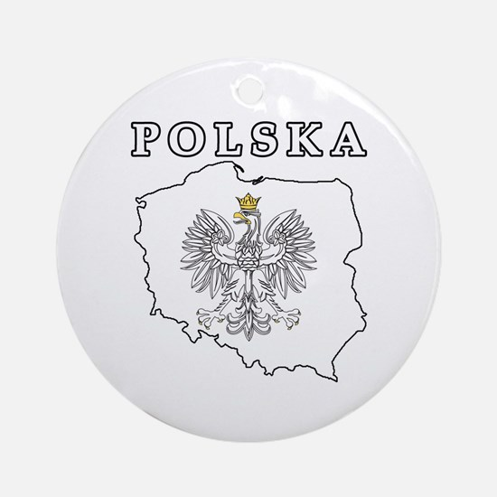 Polska Map With Eagle Ornament (Round)