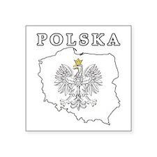 "Polska Map With Eagle Square Sticker 3"" x 3"""