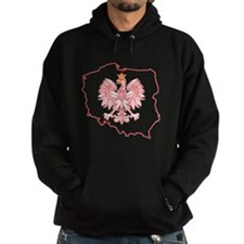 Red Polish Map With Eagle Hoodie