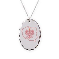 Red Polish Map With Eagle Necklace Oval Charm
