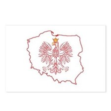 Red Polish Map With Eagle Postcards (Package of 8)