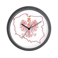 Red Polish Map With Eagle Wall Clock
