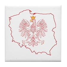 Red Polish Map With Eagle Tile Coaster