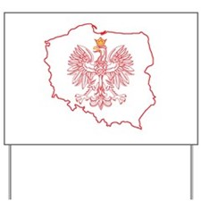 Red Polish Map With Eagle Yard Sign