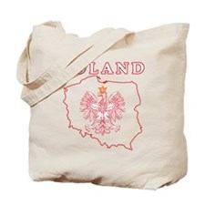 Red Poland Map With Eagle Tote Bag