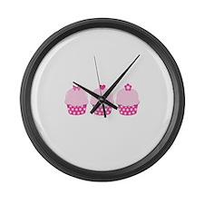 Pink Cupcakes Large Wall Clock