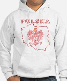 Red Polska Map With Eagle Hoodie