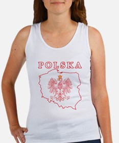 Red Polska Map With Eagle Women's Tank Top