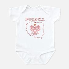 Red Polska Map With Eagle Infant Bodysuit