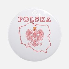Red Polska Map With Eagle Ornament (Round)