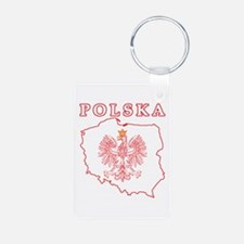 Red Polska Map With Eagle Keychains