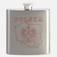 Red Polska Map With Eagle Flask