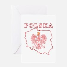 Red Polska Map With Eagle Greeting Card