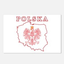 Red Polska Map With Eagle Postcards (Package of 8)