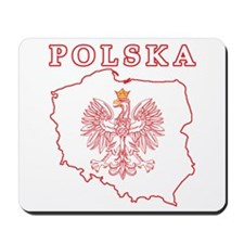 Red Polska Map With Eagle Mousepad