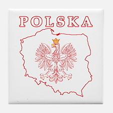 Red Polska Map With Eagle Tile Coaster