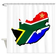 South Africa Flag Map Shower Curtain