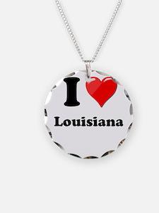 I Heart Love Louisiana.png Necklace