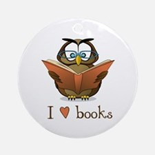 Book Owl I Love Books Ornament (Round)