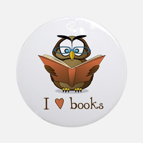 Book Owl I Love Books Ornament (Round)