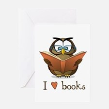 Book Owl I Love Books Greeting Card