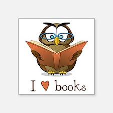 "Book Owl I Love Books Square Sticker 3"" x 3"""