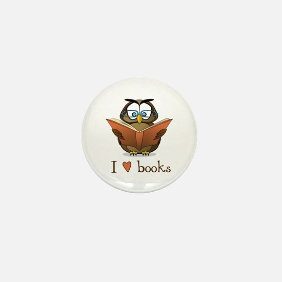 Book Owl I Love Books Mini Button