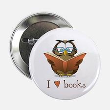 """Book Owl I Love Books 2.25"""" Button"""