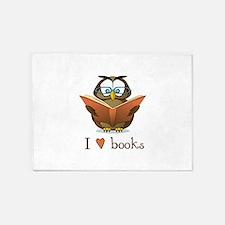 Book Owl I Love Books 5'x7'Area Rug