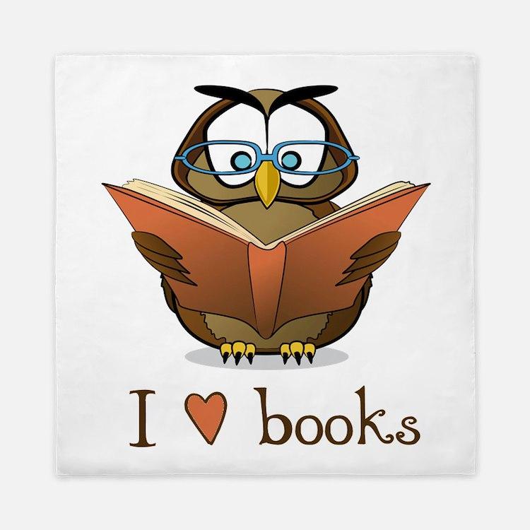 Book Owl I Love Books Queen Duvet