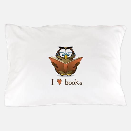 Book Owl I Love Books Pillow Case