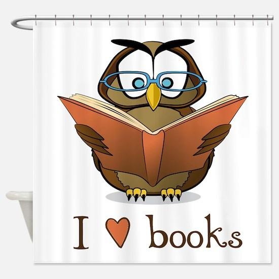 Book Owl I Love Books Shower Curtain